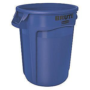 "Rubbermaid BRUTE 32 gal. Round Open Top Utility Trash Can, 27-3/4""H, Blue"