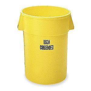 "Rubbermaid BRUTE 44 gal. Round Open Top Utility Trash Can, 31-1/2""H, Yellow"