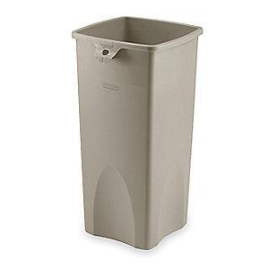 "Rubbermaid Slim Jim 23 gal. Square Open Top Utility Trash Can, 30-7/8""H, Beige"