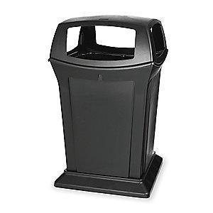 "Rubbermaid Ranger 45 gal. Square Canopy Top Utility Trash Can, 41-1/2""H, Black"