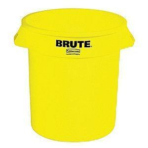 "Rubbermaid BRUTE 10 gal. Round Open Top Utility Trash Can, 17""H, Yellow"