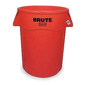 "Rubbermaid BRUTE 44 gal. Round Open Top Utility Trash Can, 31-1/2""H, Red"