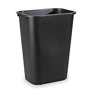 "Rubbermaid 10 gal. Rectangular Open Top Utility Trash Can, 19-7/8""H, Black"
