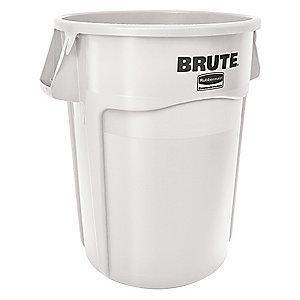 "Rubbermaid BRUTE 44 gal. Round Open Top Utility Trash Can, 31-1/2""H, White"