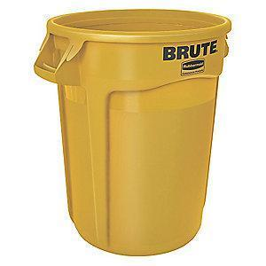 "Rubbermaid BRUTE 32 gal. Round Open Top Utility Trash Can, 27-3/4""H, Yellow"