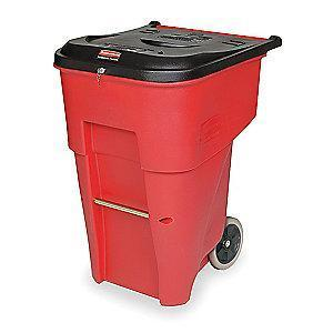 "Rubbermaid BRUTE 65 gal. Rectangular Flat Top Roll Out Trash Can, 41-3/4""H, Red"