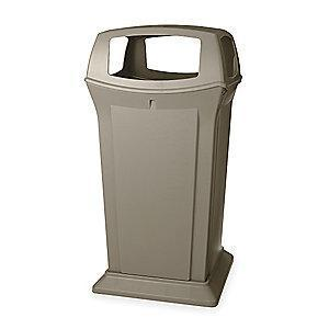 "Rubbermaid Ranger 65 gal. Square Canopy Top Utility Trash Can, 49-1/4""H, Beige"
