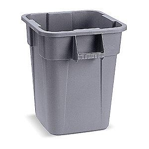 "Rubbermaid BRUTE 40 gal. Square Open Top Utility Trash Can, 28-3/4""H, Gray"