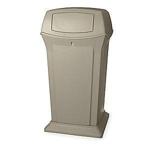 "Rubbermaid Ranger 65 gal. Square Dome Top Utility Trash Can, 49-1/4""H, Beige"