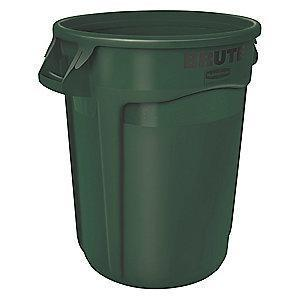 "Rubbermaid BRUTE 32 gal. Round Open Top Utility Trash Can, 27-3/4""H, Green"
