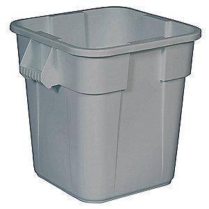 "Rubbermaid BRUTE 28 gal. Square Open Top Utility Trash Can, 22-1/2""H, Gray"