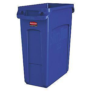 "Rubbermaid Slim Jim 16 gal. Rectangular Open Top Utility Trash Can, 25""H, Blue"