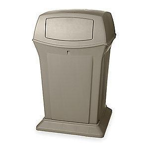 "Rubbermaid Ranger 45 gal. Square Dome Top Utility Trash Can, 41-1/2""H, Beige"