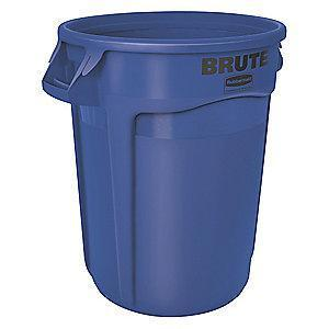 "Rubbermaid BRUTE 20 gal. Round Open Top Utility Trash Can, 23""H, Blue"