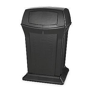 "Rubbermaid Ranger 45 gal. Square Dome Top Utility Trash Can, 41-1/2""H, Black"