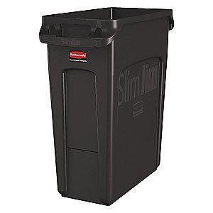 "Rubbermaid Slim Jim 16 gal. Rectangular Open Top Utility Trash Can, 25""H, Brown"