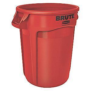 "Rubbermaid BRUTE 20 gal. Round Open Top Utility Trash Can, 23""H, Red"