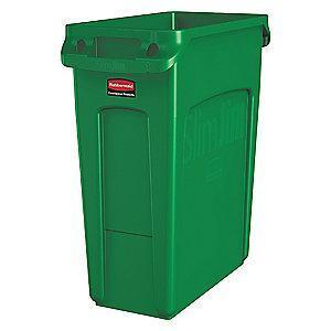 "Rubbermaid Slim Jim 16 gal. Rectangular Open Top Utility Trash Can, 25""H, Green"