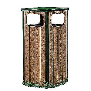 "Rubbermaid Regent 12 gal. Square Flat Top Decorative Trash Can, 32""H, Green"
