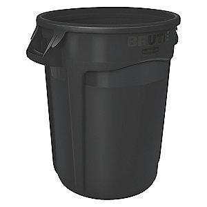 "Rubbermaid BRUTE 55 gal. Round Open Top Utility Trash Can, 33""H, Black"