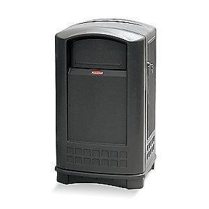 "Rubbermaid Plaza 50 gal. Square Dome Top Utility Trash Can, 42-1/8""H, Black"