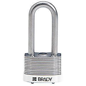 "Brady Alike-Keyed Padlock, Extended Shackle Type, 2"" Shackle Height, White"