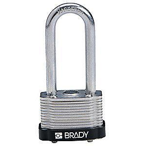 "Brady Alike-Keyed Padlock, Extended Shackle Type, 2"" Shackle Height, Black"