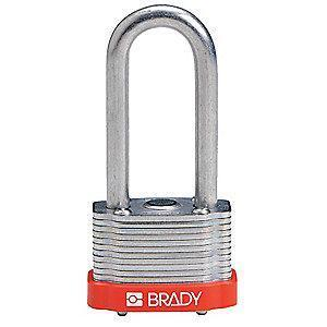 "Brady Alike-Keyed Padlock, Extended Shackle Type, 2"" Shackle Height, Red"