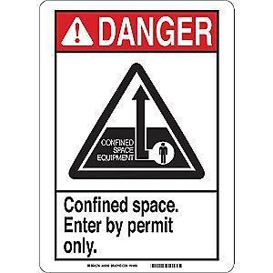 "Brady Confined Space, Danger, Polyester, 10"" x 7"", Adhesive Surface"
