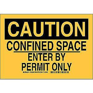 "Brady Confined Space, Caution, Aluminum, 10"" x 14"""