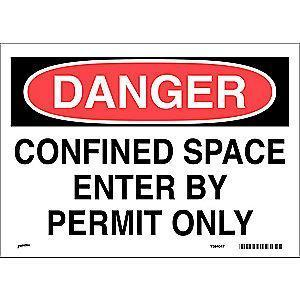"Brady Confined Space, Danger, Vinyl, 10"" x 14"", Adhesive Surface"