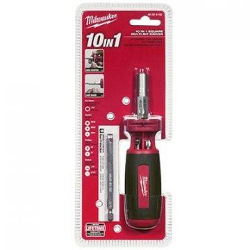 Milwaukee 10-In-1 Square-Drive Multi-Bit Driver, 3.5-In. Power Groove Bits
