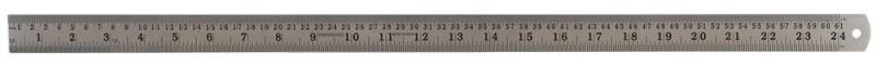 "Duratool 24"" (600mm) Stainless Steel Ruler with Metric/Imperial Marking, Satin"