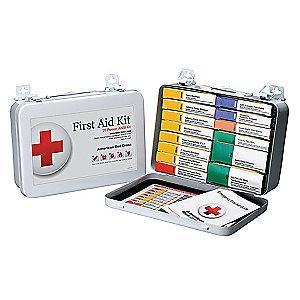 American First Aid Kit, Metal Case, Workplace, 25 People Served