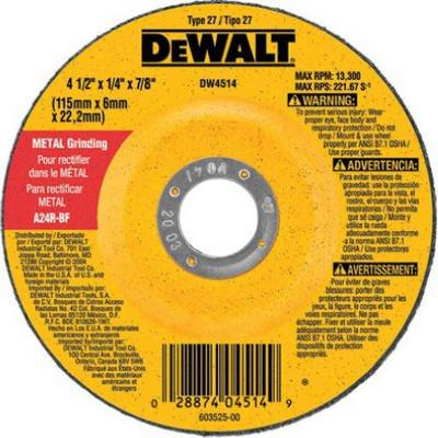 "DeWalt 4.5 x .25"" Fast Metal-Cutting Wheel"