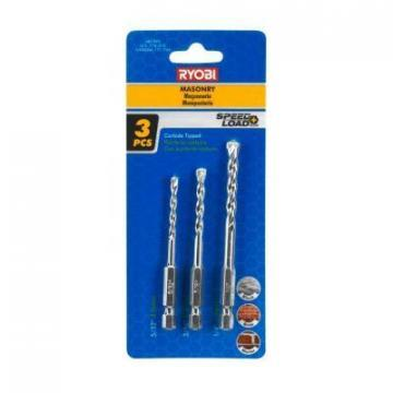 Ryobi SpeedLoad Plus Carbide-Tipped Masonry Bit Set (3-Piece)