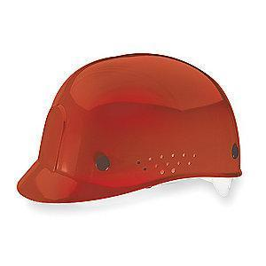 MSA Red Polyethylene Bump Cap, Perforated Sides, Fits Hat Size: 6-1/2 to 8