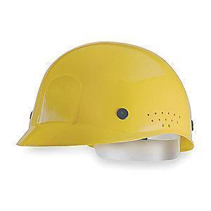 MSA Yellow Polyethylene Bump Cap, Perforated Sides, Fits Hat Size: 6-1/2 to 8