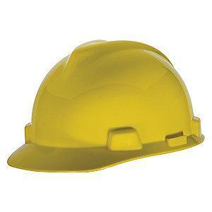 MSA Front Brim Hard Cap, 4 pt. Ratchet Suspension, Yellow, Hat Size: 6-1/2 to 8