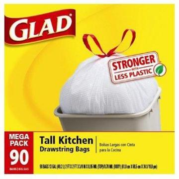 Clorox Glad Tall Kitchen Garbage Bag, Drawstring, 13-Gal., 90-Ct.