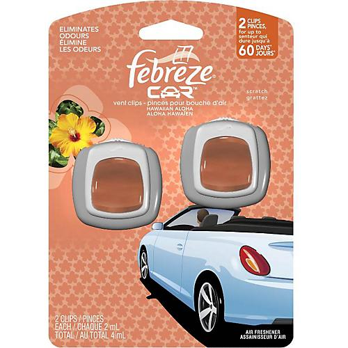 Procter & Gamble Febreze Car Air Freshener, Vent Clip, Hawaiian Aloha, 0.13-oz