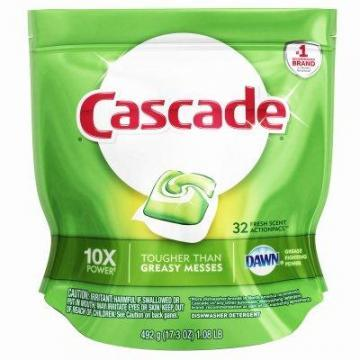 Procter & Gamble Cascade Dishwasher Action Pacs, Regular Scent, 32-Ct.