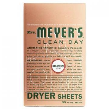 SC Johnson Mrs. Meyer's Clean Day Dryer Sheets, Geranium, 80-Ct.
