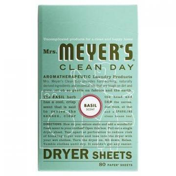 SC Johnson Mrs. Meyer's Clean Day Dryer Sheets, Basil, 80-Ct.