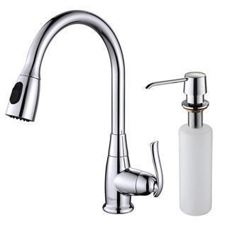 Kraus Single Lever Pull Out Kitchen Faucet and Soap Dispenser Chrome