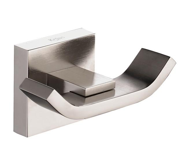 Kraus Aura Bathroom Accessories - Double Hook Brushed Nickel