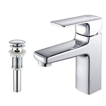Kraus Virtus Single-Lever Basin Bathroom Faucet and Pop-Up Drain with Overflow in Chrome Finish