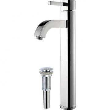 Kraus Ramus Single-Lever Vessel Bathroom Faucet with Matching Pop-Up Drain in Chrome Finish