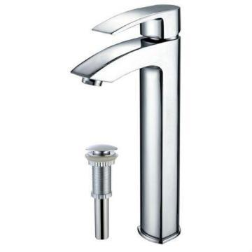 Kraus Visio Single-Lever Vessel Bathroom Faucet with Matching Pop-Up Drain in Chrome Finish