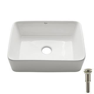 Kraus Rectangular Ceramic Bathroom Sink in White with Pop Up Drain in Satin Nickel